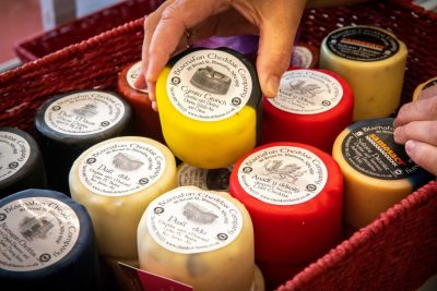 A selection of wax-wrapped cheese