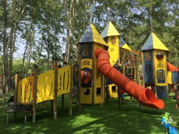 A yellow and red adventure playground