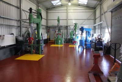 Interior shot of the paint-mixing room