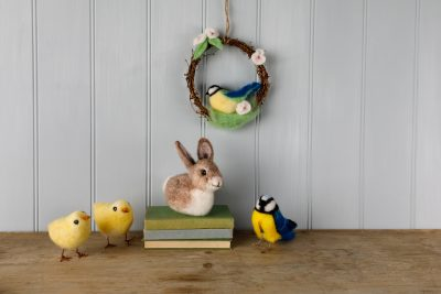 An Easter display of soft craft kits